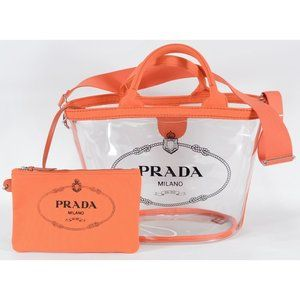 Prada Large Clear Tote Bag with Canvas Zip Pouch